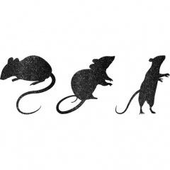 9 Cutouts Mice Glitter Paper 23.3 x 9.9, 19.8 x 18.2, 17 x 16 cm, 19.6 x 17.7 cm, Radar 190193