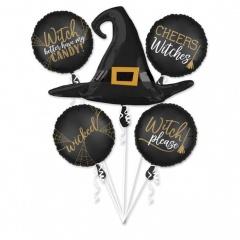 Buchet Baloane Halloween - Witch Silhouette, Radar 38087, set 5 bucati