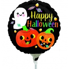 Balon Mini Folie Halloween - Happy Ghost & Pumpkins - 23 cm, umflat + bat si rozeta, Radar 38162