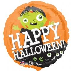 "18"" Happy Halloween Zombie Round Foil Balloon, Radar 33851"
