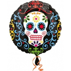 "18"" Halloween Day Of The Dead Round Foil Balloon, Radar 29939"