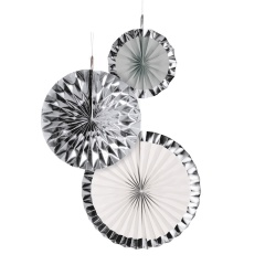 3 Fan Decorations Silver Dream Paper 18/30/38 cm, Radar 9904627, pack of 3 pieces