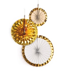 3 Fan Decorations Gold Brush Paper 18/30/38 cm, Radar 9904628