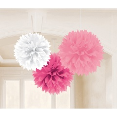 3 Fluffy Decorations Pink And White, 40.6 cm, Radar 181045