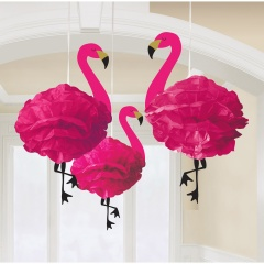 3 Fluffy Hanging Decorations Flamingo Paper 49.5 cm, Radar 180236