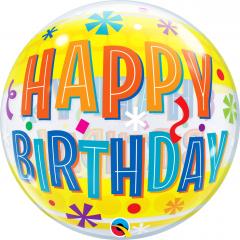 """Happy Birthday Fun Bubble Balloon - 22""""/56 cm, Qualatex 16657"""