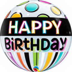 "Happy Birthday Black Band & Dots Bubble Balloon - 22""/56 cm, Qualatex 25720"