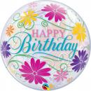 "Happy Birthday Flowers & Filigree Bubble Balloon - 22""/56 cm, Qualatex 49087"