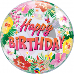 "Happy Birthday Tropical Bubble Balloon - 22""/56 cm, Qualatex 87740"