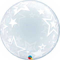 Balon Deco Bubble Stylish Stars 24''/61 cm, Qualatex 42671, 1 buc