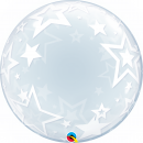 Balon Deco Bubble Stylish Stars 24''/61 cm, Qualatex 42671, 1 buc