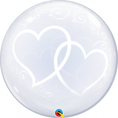 Balon Deco Bubble Entwined Hearts 24''/61 cm, Qualatex 84696, 1 buc