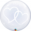 """Entwined Hearts Deco Bubble Balloon - 24""""/61 cm, Qualatex 84696, 1 piece"""