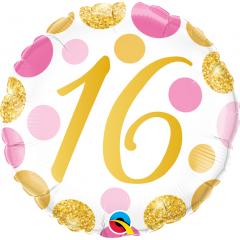 Balon Folie 45 cm 16 ani, Pink & Gold Dots, Qualatex 88172