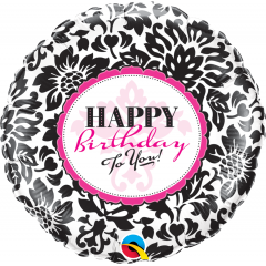 Balon Folie 45 cm Happy Birthday Damask, Qualatex 30986