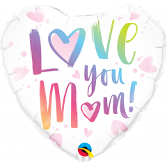 "18"" Love You Mum Heart Shaped Foil Balloon, Qualatex 82256"