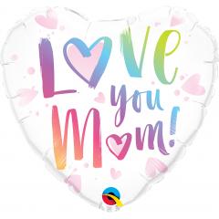 Balon Folie 45 cm Inima Love You Mum, Qualatex 82256