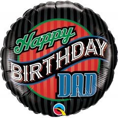 Balon Folie 45 cm Happy Birthday Dad, Qualatex 25576