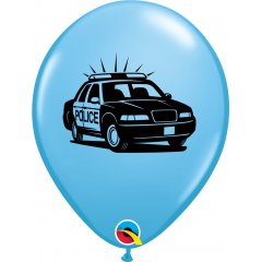 "Baloane latex 11"" inscriptionate Masina Politie, Qualatex 86592"