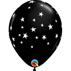 "11"" Onyx Black Contempo Stars Printed Latex Balloons, Qualatex 92722"