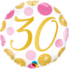 Balon Folie 45 cm 30 ani, Pink & Gold Dots, Qualatex 88181