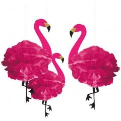 3 Fluffy Hanging Decorations Flamingo Paper 49.5 cm, Radar 180236