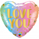 """18"""" Love You Pastel Ombre Heart Shaped Foil Balloon, Qualatex 97433"""