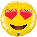 "28"" Smiley Face With Heart Eyes Jumbo Foil Balloon, Qualatex 97541"