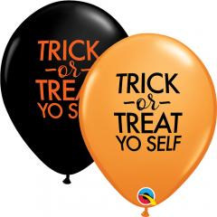 "11"" Trick or Treat Printed Latex Balloons, Qualatex 97357"