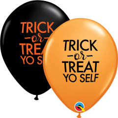 "Baloane latex 11""/28 cm inscriptionate Trick or Treat, Qualatex 97357"