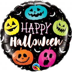 "18"" Halloween Jack Faces Round Foil Balloon, Qualatex 89822"