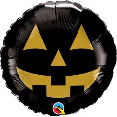 "18"" Halloween Jack Face Round Foil Balloon, Qualatex 89832"