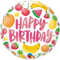 "18"" Happy Birthday Fruits Round Foil Balloon, Qualatex 10264"