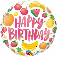 Balon Folie 45 cm Happy Birthday Fruits, Qualatex 10264
