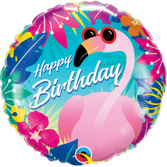 "18"" Tropical Flamingo Happy Birthday Round Foil Balloon, Qualatex 10220"