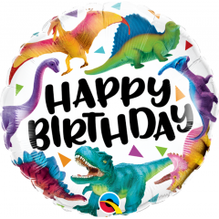 Balon Folie 45 cm Birthday Colorful Dinosaurs, Qualatex 97382