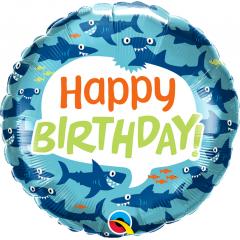 18'' Round Birthday Fun Sharks, Qualatex 97379