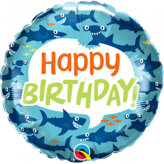 Balon Folie 45 cm Birthday Fun Sharks, Qualatex 97379
