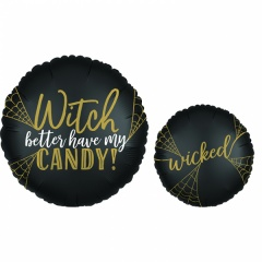 """18"""" Happy Halloween Witch Round Foil Balloon, Radar 38144"""