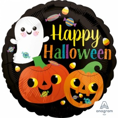 "18"" Standard ""Happy Ghost & Pumpkins"" Foil Balloon"