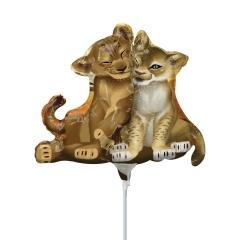Balon Mini Figurina Lion King umflat + bat si rozeta, Lion King, Amscan A39878