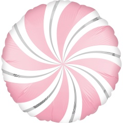 "Round Candy Swirl Magenta Foil Balloon, Qualatex, 18"", 17355"