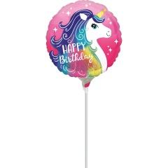 Balon Mini Folie PinkUnicorn 23 cm umflat + bat si rozeta, Amscan 39644