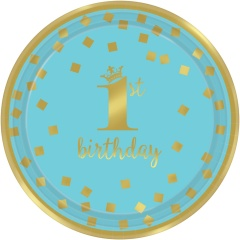 1st Birthday Paper Party Plates - 18 cm, pink and gold, Radar 541861, pack of 8 pcs