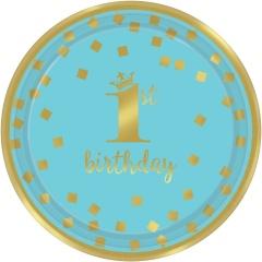 Farfurii carton pentru petrecere 1st birthday - 18 cm, bleu si auriu, Amscan 541862, set 8 bucati