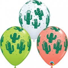"11"" Latex Balloons Rounds Cactuses, Qualatex 80570"