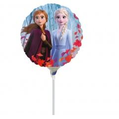 Balon Mini Folie Frozen 2, umflat + bat si rozeta- Anna, Elsa & Olaf, 23 cm, Amscan 40556