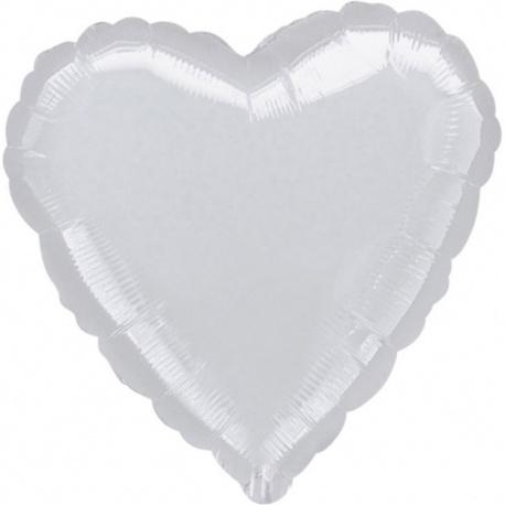 Balon folie Argintiu metalizat in forma de inima - 45 cm, Amscan 10576, 1 buc