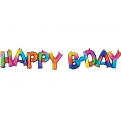 Block Phrase Happy Bday Rainbow Splash Foil Balloon - 76 x 48 cm, Amscan 39182