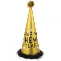 Coif Auriu/Negru cu puf pentru Revelion - 45.7 cm, Amscan 251054